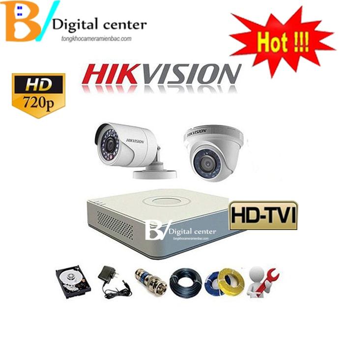 Trọn bộ 2 chiếc camera hikvision HD cao cấp dome và thân