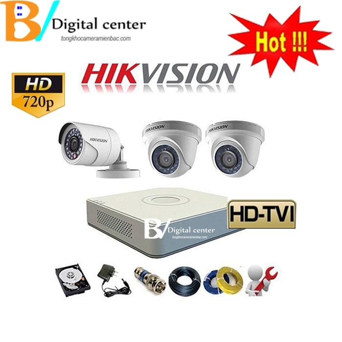 hình ảnh trọn bộ 3 chiếc camera hikvision HD cao cấp